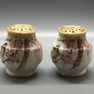 Nippon Dining - Antique Imperial Nippon Salt Pepper Bird Flowers